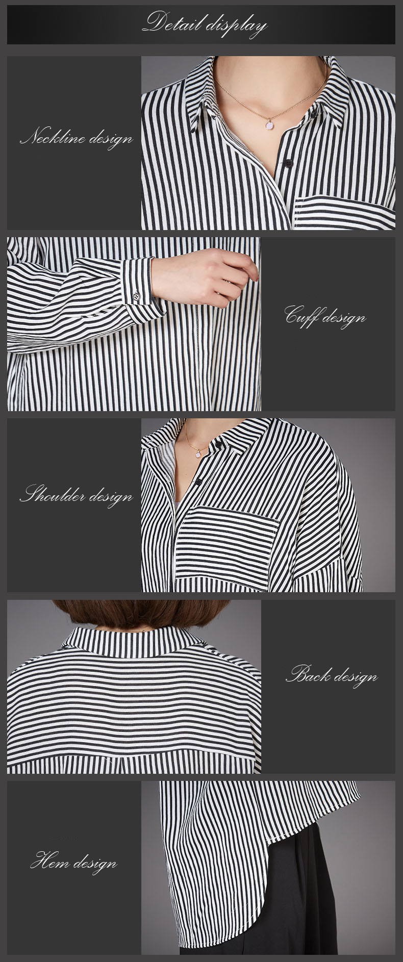 Loose Striped Lapel Buttons Long Sleeve Casual Women Blouse