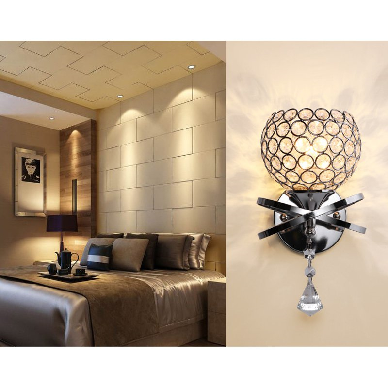 Single Head Silver/Golden Crystal Wall Light Lamp Fixture Sconce Bedroom Hallway Fitting