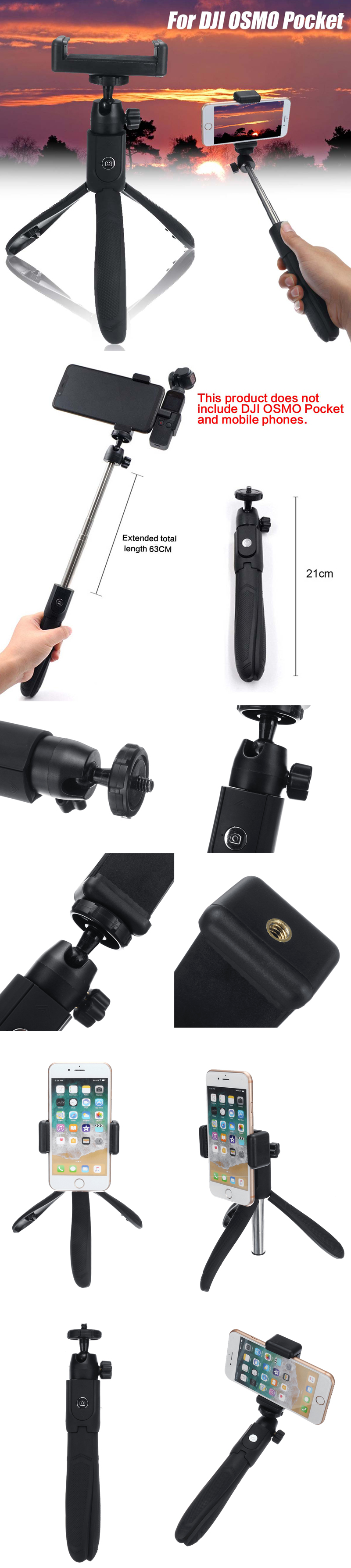 bluetooth Selfie Stick For DJI OSMO Pocket Phone Holder Gimbal Stabilizer Outdoor Hunting Accessories