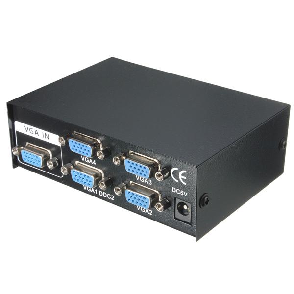 4 Port VGA SVGA Monitor Sharing Video Switcher Box Video Splitter 60cm USB Cable