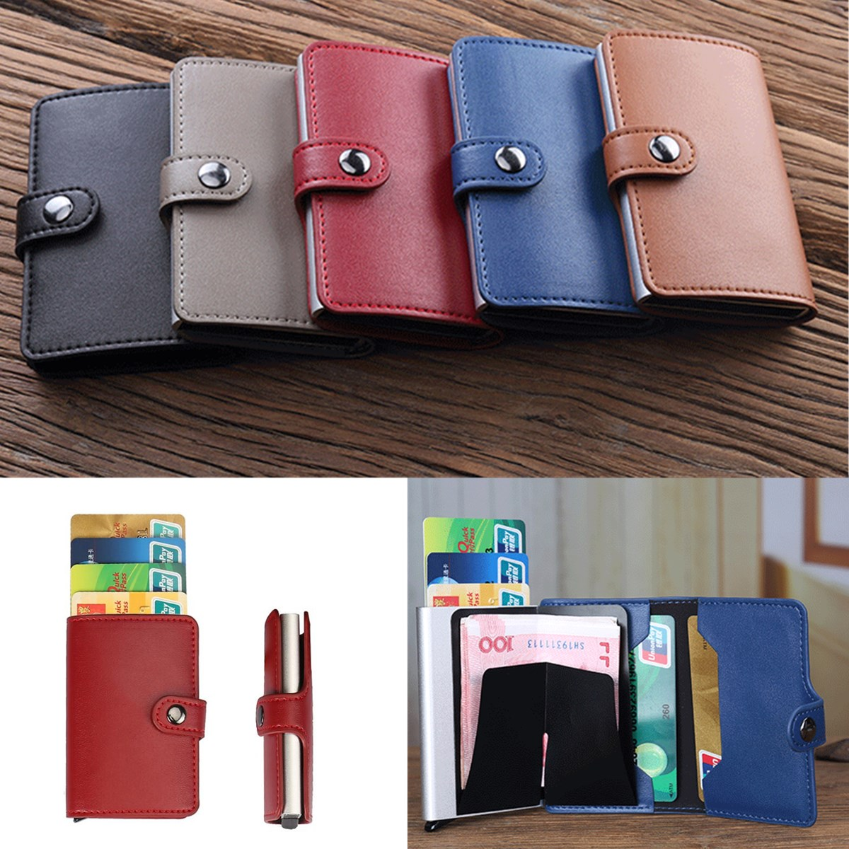 Men Women Aluminum Credit Card Case Protector Holder PU Leather Wallet Organizer