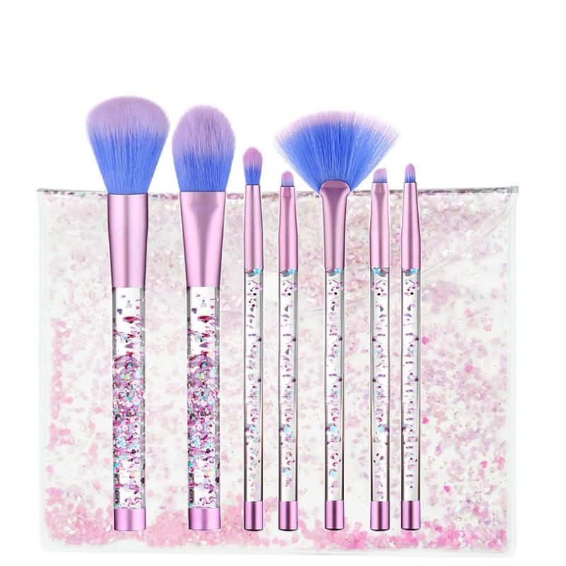 LuckyFine 7pcs Glitter Liquid Handle Makeup Brushes Mermaid Blending Foundation Eye Shadow Lips