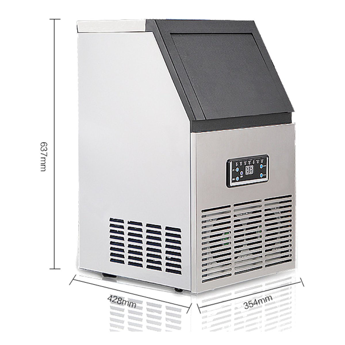 110V 230W 60Kg/24hr Auto Ice Cube Maker Machine Commercial Icemaker Stainless Steel