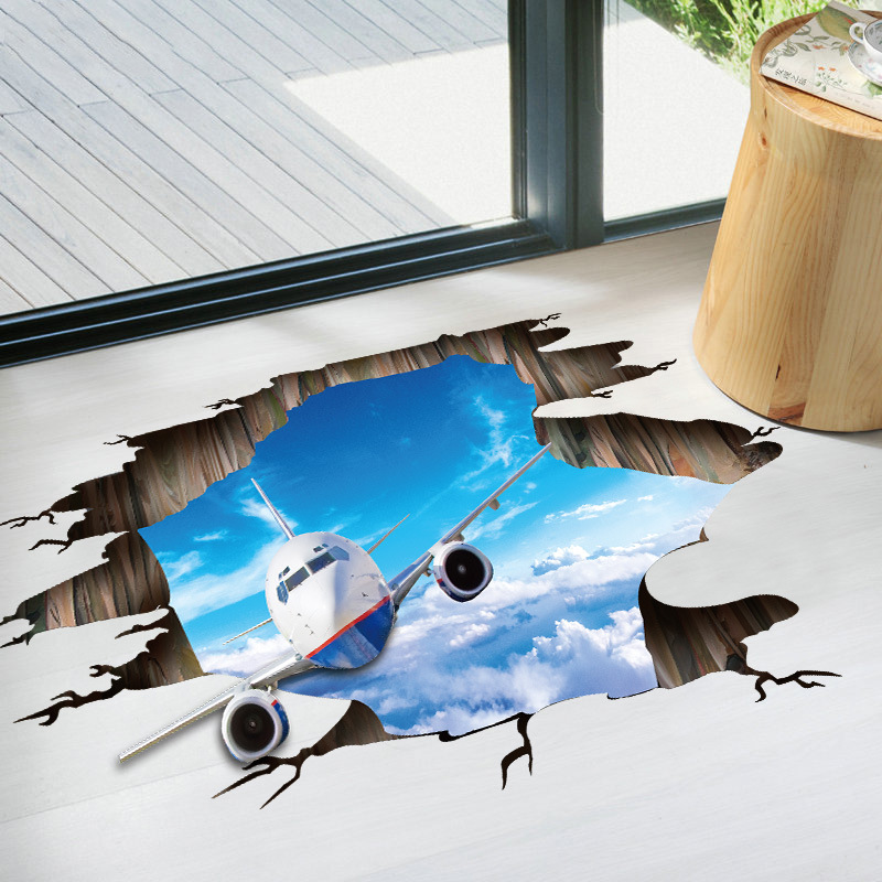 Miico Creative 3D Sky Flying Plane Broken Wall Removable Home Room Decorative Wall Door Decor Sticker