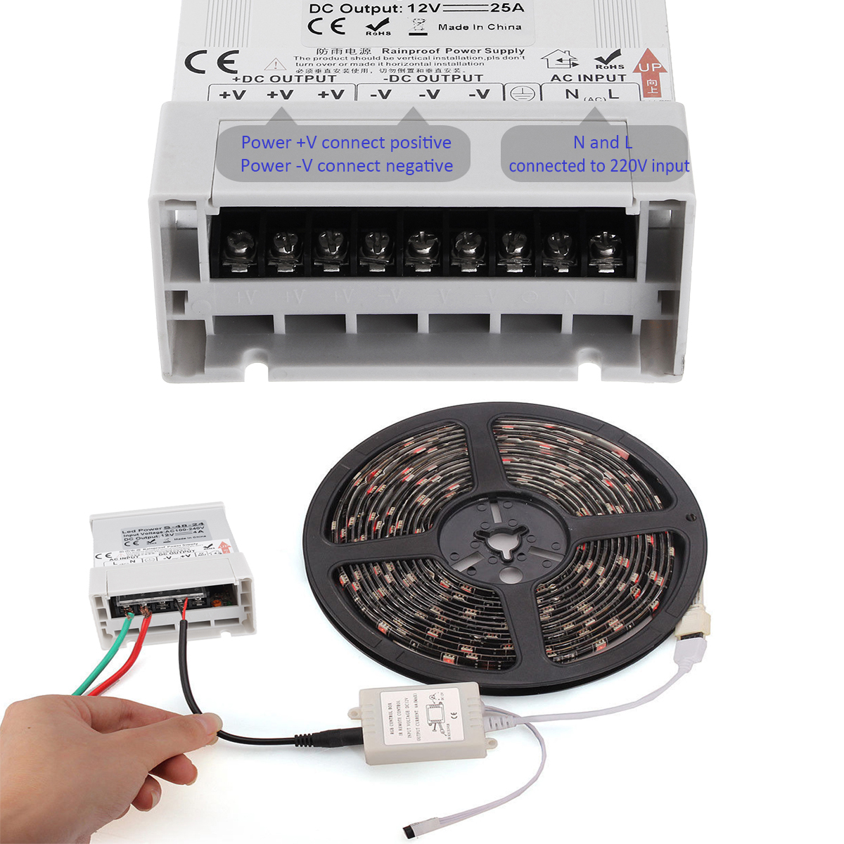 AC 110-220V to DC 12V 48-400W LED Switching Power Supply Rainproof Power Supply Driver