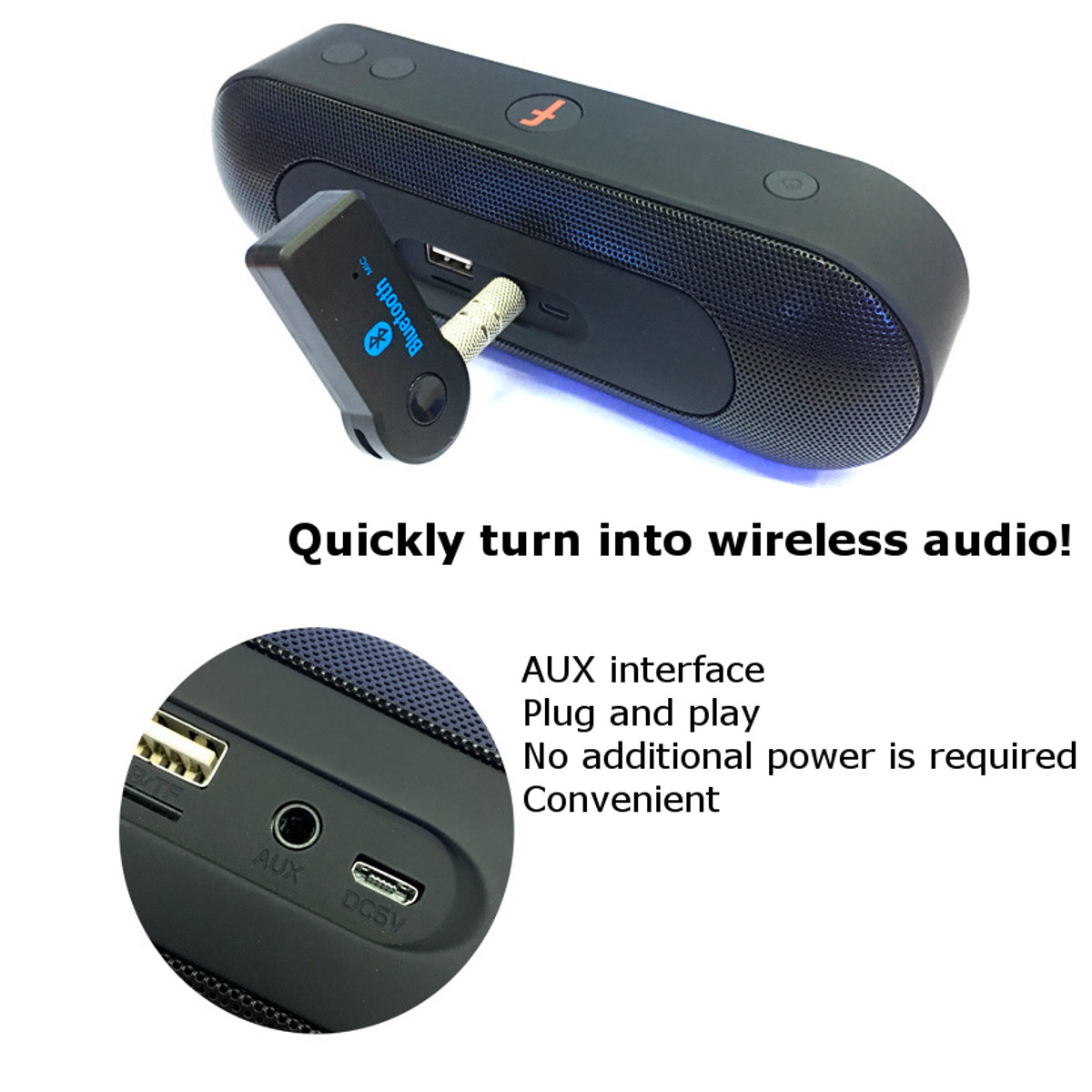 Audio Music bluetooth Receiver Handsfree Wireless Transmitter 3.5mm Stereo