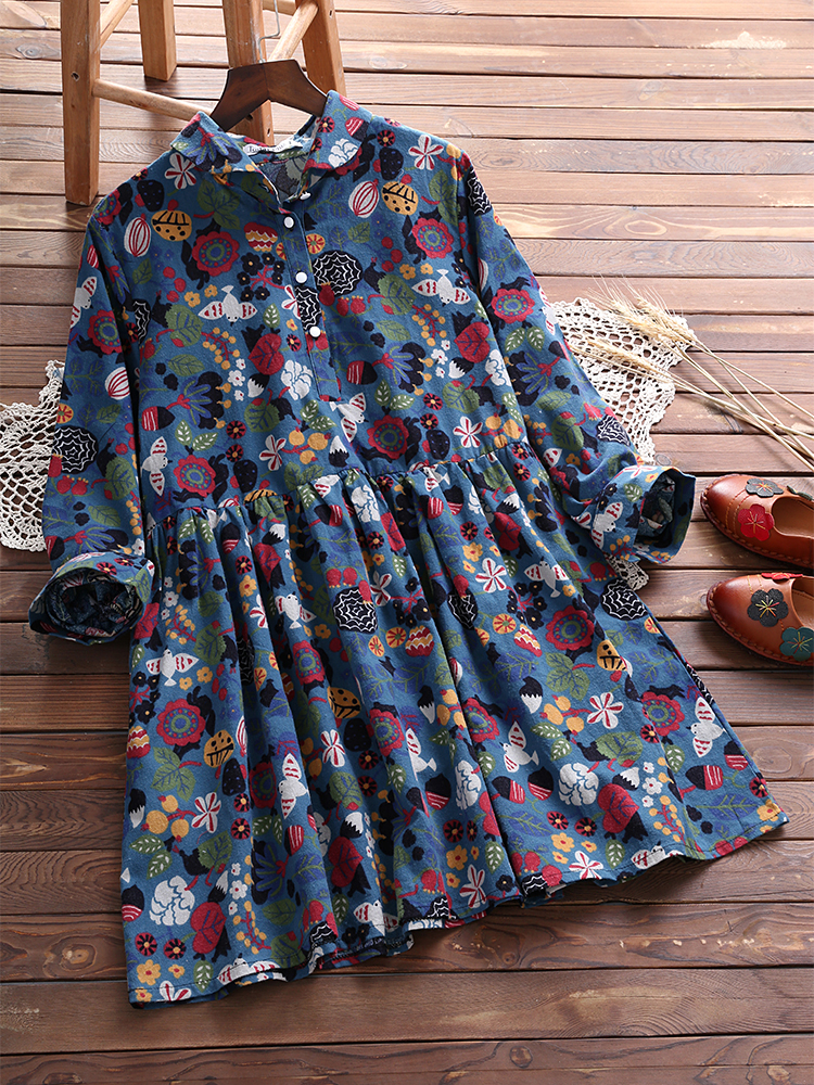 Women Vintage Floral Print Lapel Long Sleeves Pleated Blouse