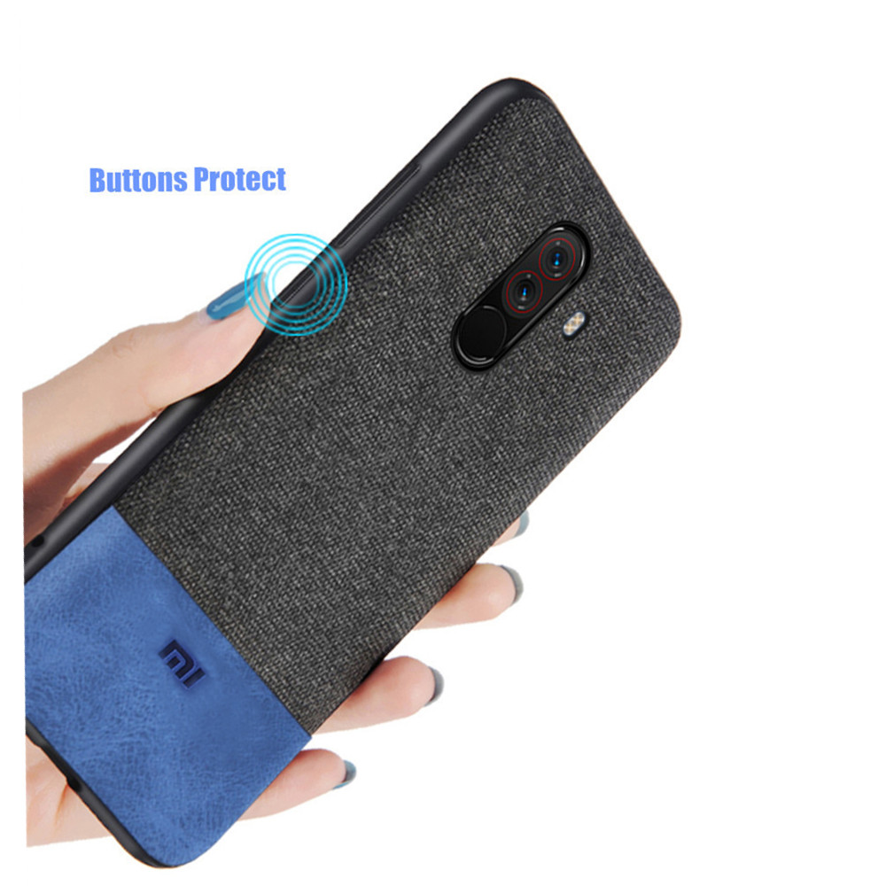 Bakeey Luxury Fabric Splice Soft Edge Shockproof Protective Case For Xiaomi Pocophone F1