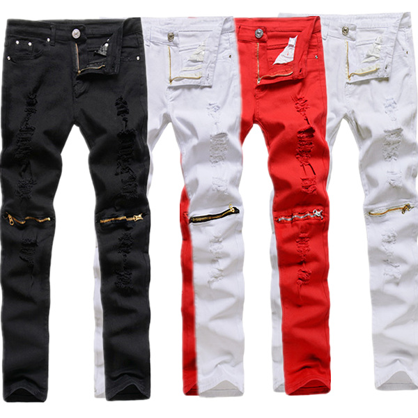 Men Punk Style Ripped Jeans Skinny Pencil Pants Zipper Knee Trousers 4 Colors