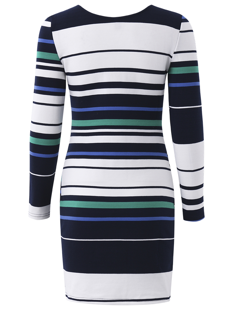 Women Sexy V-Neck Zipper Stripe Long Sleeve Knitting Mini Dress