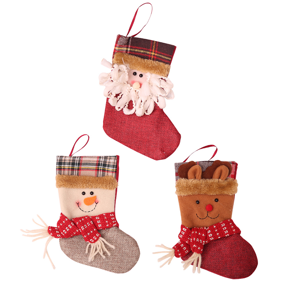 Christmas Stocking Mini Sock Santa Claus Candy Gift Bag Tree Hanging Decor