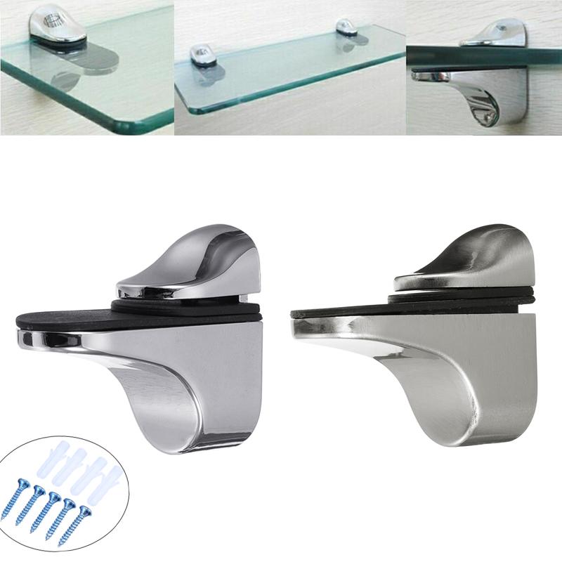 Adjustable Metal Wall Mount Floating Bracket Holder Support Glass Wood Shelves Furniture Bathroom