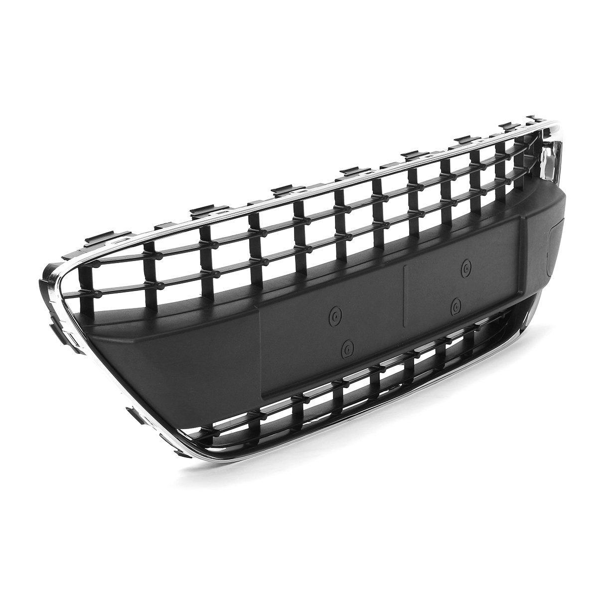 Car Front Bumper Center Lower Grill Mesh Black W/ Chrome Trim For Ford Fiesta MK7