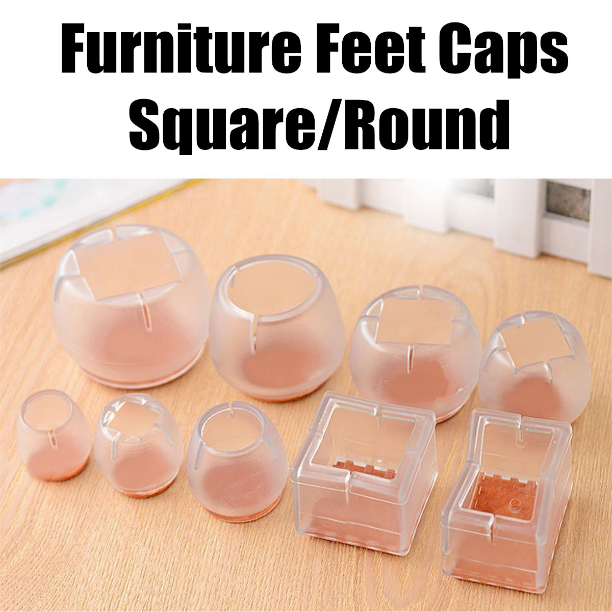 Silicone Square Round Furniture Feet Caps Table Chair Leg Pads Floor Protector Scratchproof