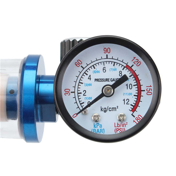 G1/4 Pneumatic Gun Air Regulator Pressure Gauge with In Line Water Trap Filter Separator