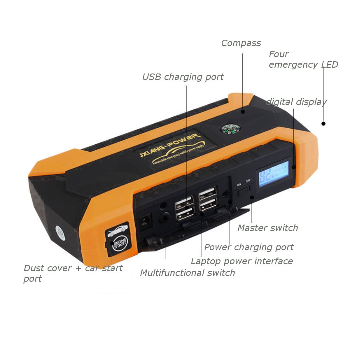 12000mAh LED Car Jump Start Starter 4 USB Charger Battery Power Bank Booster 12V