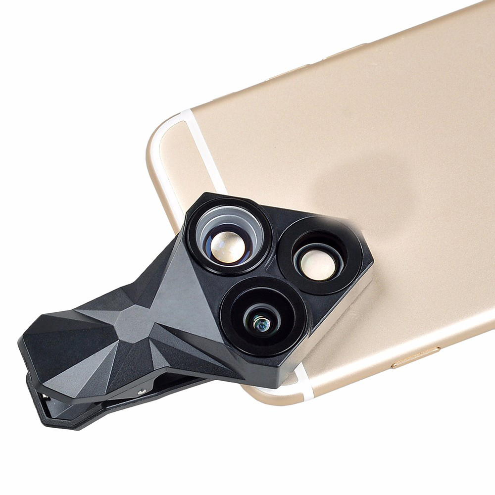 APEXEL 3 in 1 Fisheye Wide Angle Microphone Camera Lens with Clip for iPhone Xiaomi Samsung