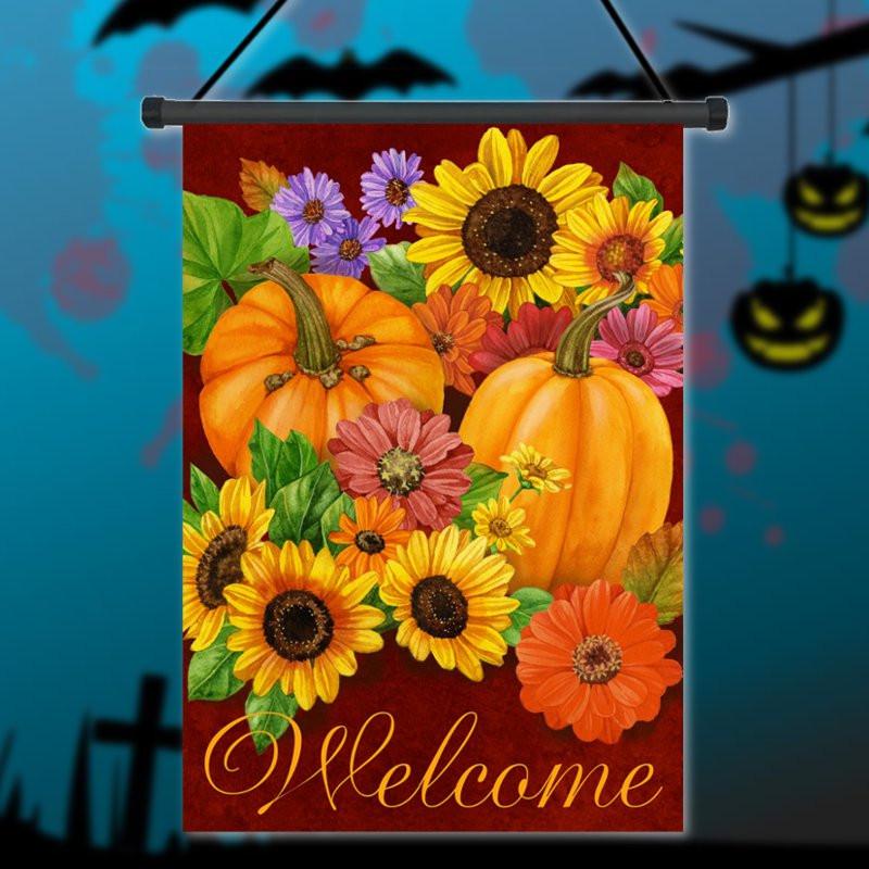 12.5'' x 18'' Pumpkin Flower Welcome Autumn Fall Garden Flag Yard Banner Decor Decorations