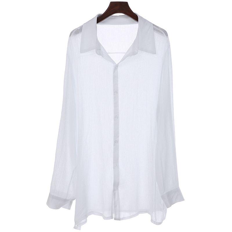 Stylish Loose Thin Pure Color Plus Size M-3XL Casual Shirts