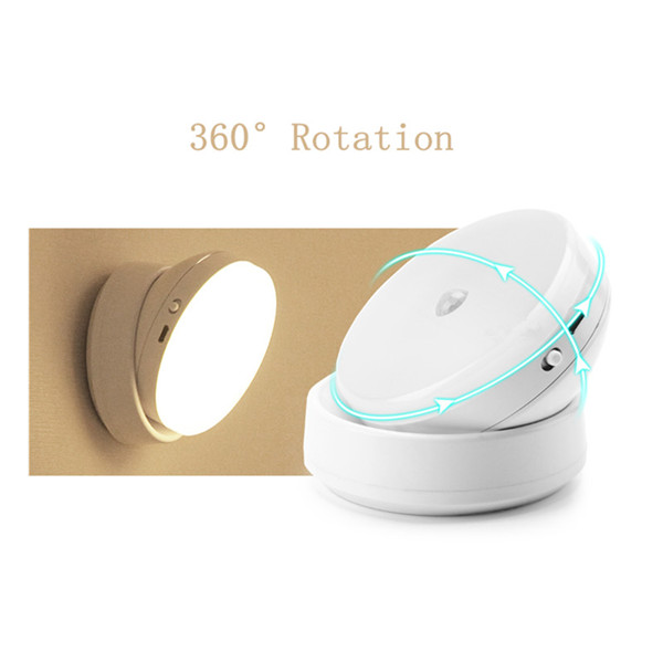 USB Rechargeable PIR Motion Sensor LED Night Light 360 Degree Rotation Lamp for Bedroom Home