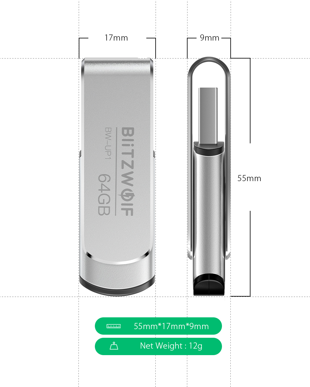BlitzWolf® BW-UP1 Aluminium Alloy 360° Rotating Cover USB 3.0 Flash Drive 16GB 32GB 64GB 128GB