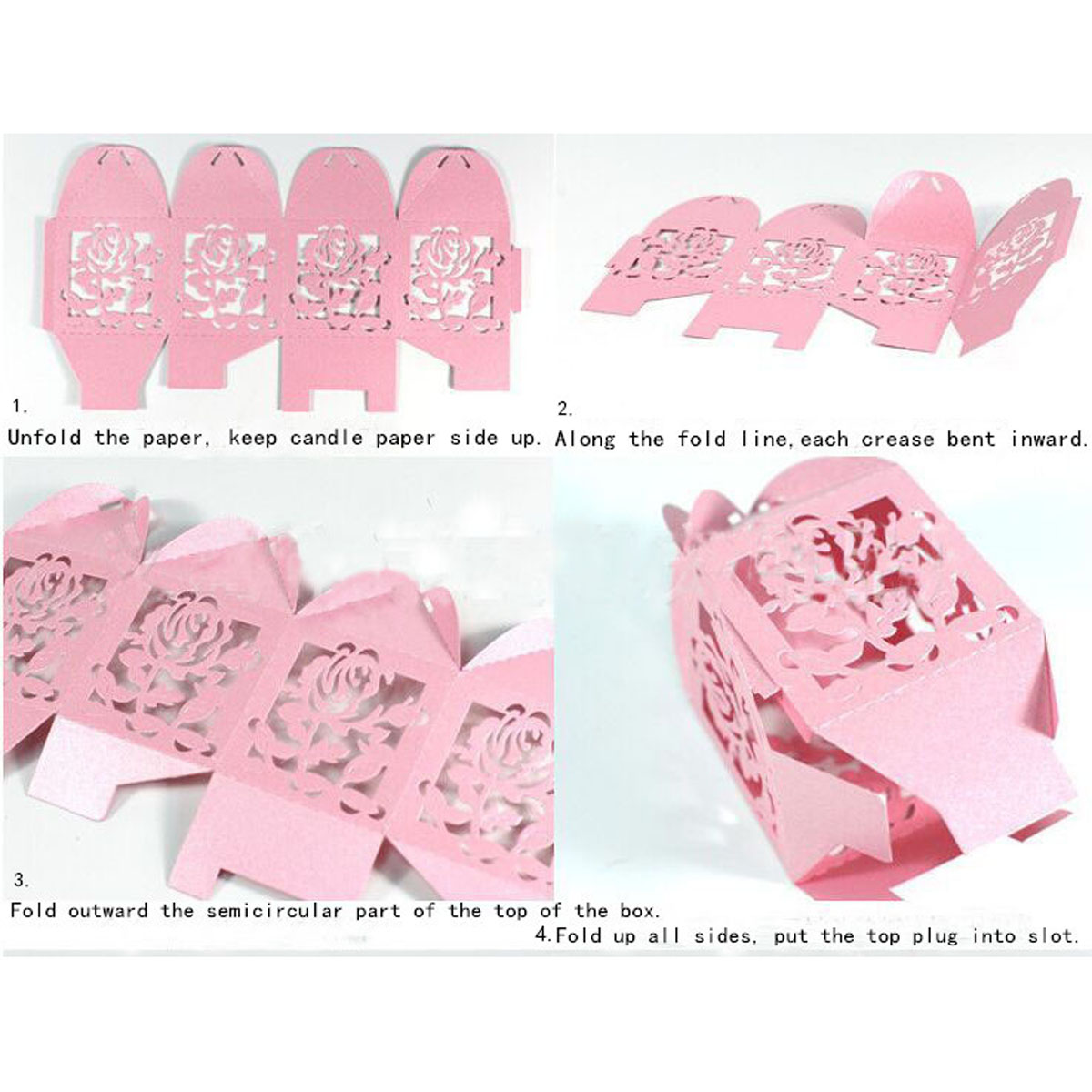 12PCS White Cross Ribbon Laser Cut Hollow Out Wedding Candy Box Gift Chocolate Storage