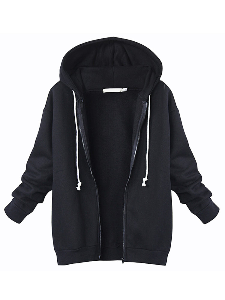 Casual Women Loose Zipper Long Sleeve Hooded Sweatshirt Coat