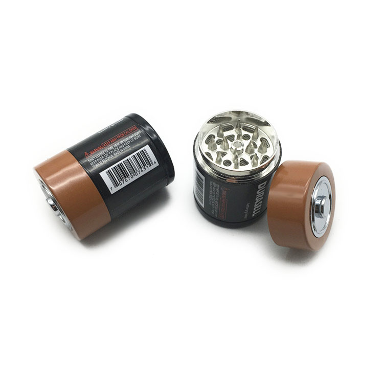 44mm 3 Piece Battery Shape Tobacco Herb Grinder Metal Spice Crusher Zinc Alloy Pollen Catcher Smoking Accessories