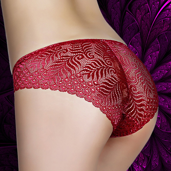 Cosy Soft Full Lace-trim Multicolor Mid Waist Transparent Bowknot Panties