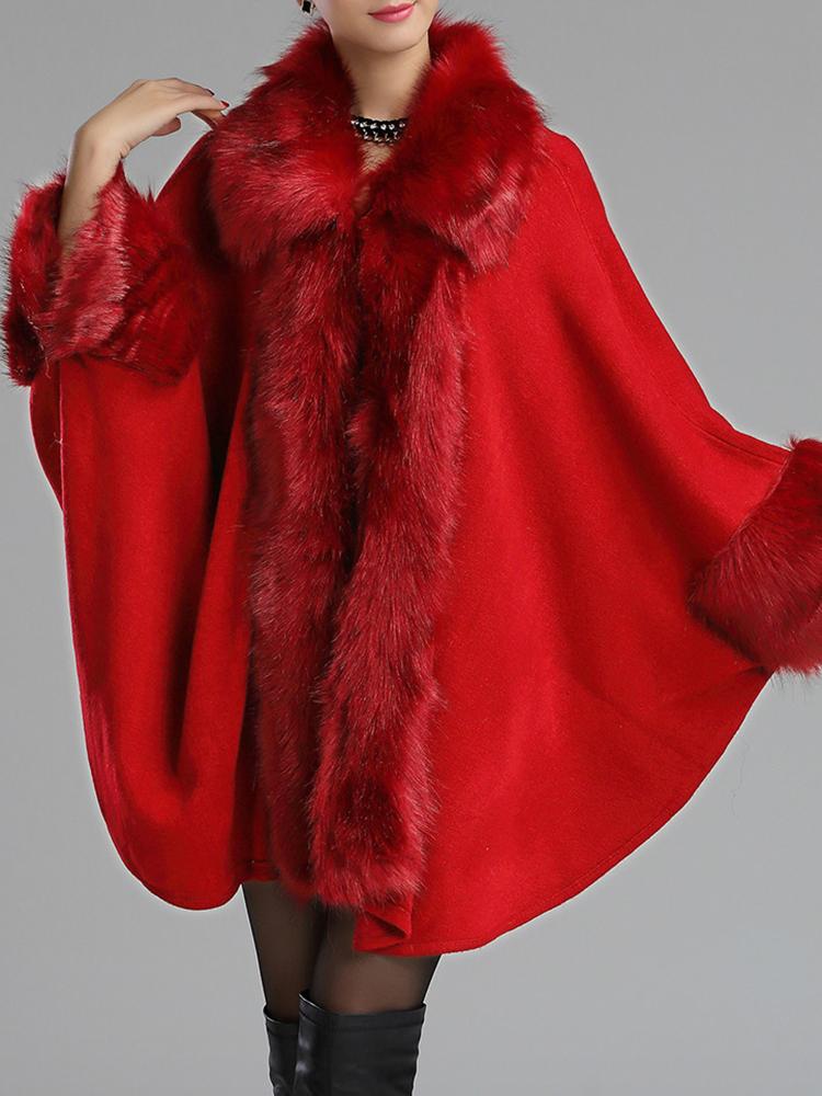 Women Winter Faux Fur Shawl Cloak