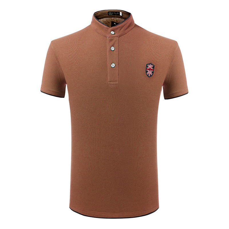 Mens Embroidered Plain Color Stand Collar Button Summer Plus Size T-shirt Polo Shirt