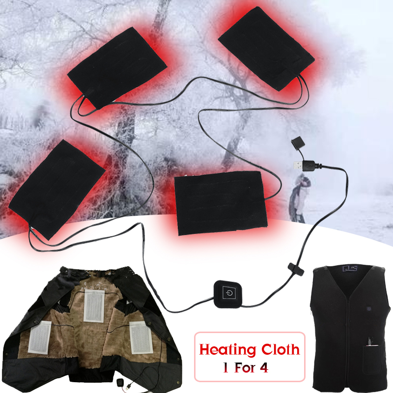 9W 5-12V USB Heating 4 Pads 3 Gears Thermal Vest Heated Plate Jacket Motorcycle Warm Winter
