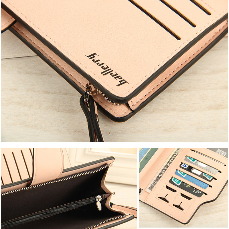 New Fashion Baellerry Women High Quality PU Leather Long Wallet Handbag Card Holder Coin Purse