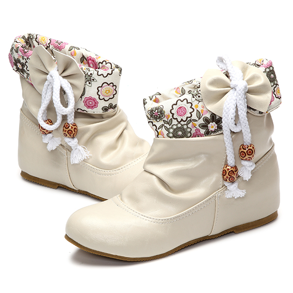 US Size 5-12 Floral Bowknot Slip On Ankle Short Boots
