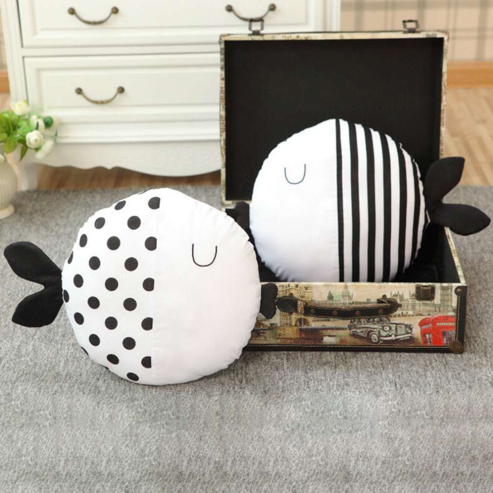 KCASA Cartoon Doll Pillow Simple Black And White Cute Striped Polka Dot Fish Pillow Kids Accompany Sleeping Doll Cushion Family Decoration Children's Room Decor