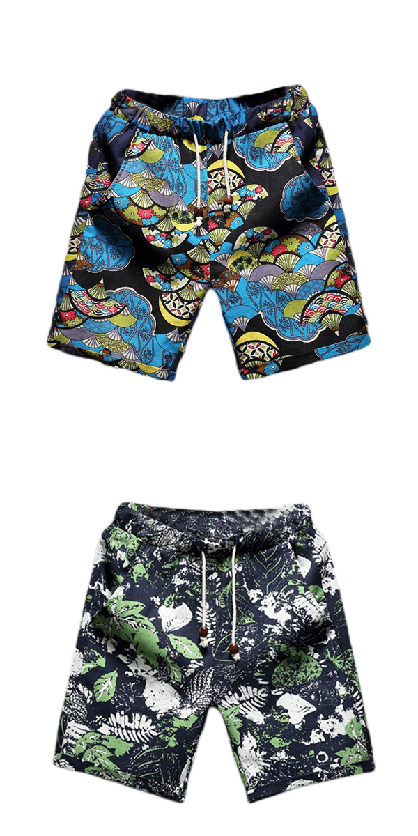 Mens Floral Printing Plus Size Vintage Style Flax Casual Beach Drawstring Loose Shorts