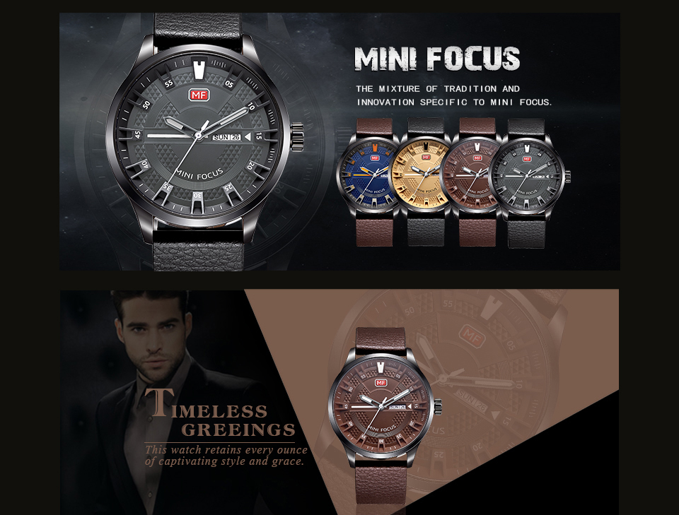 MINI FOCUS MF0028G Casual Style Men Wristwatch Display Date and Week Clock Quartz Watches