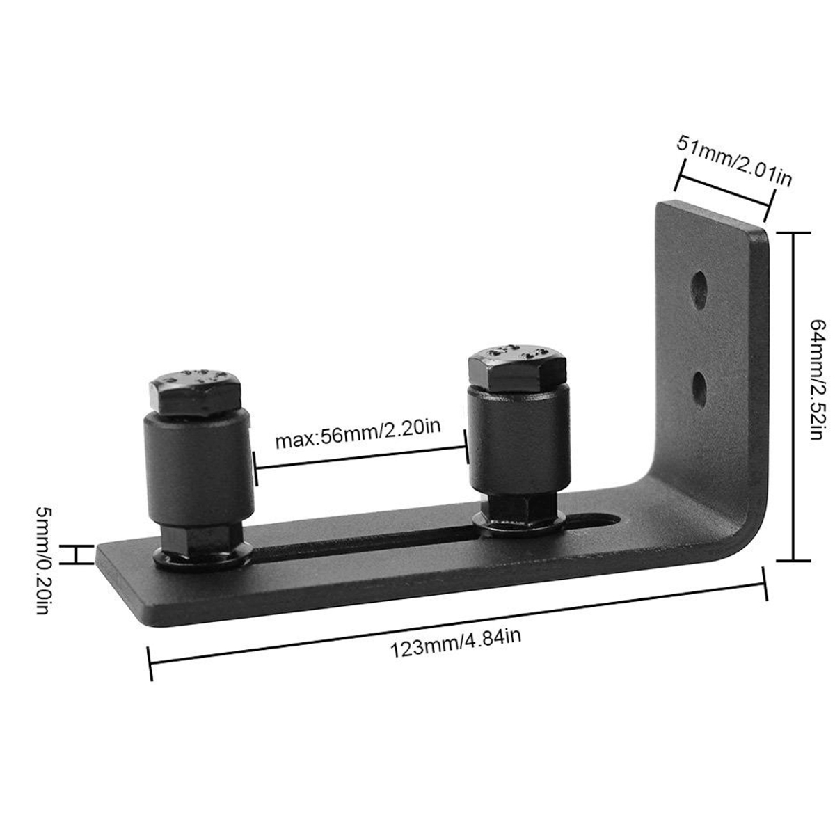 Sliding Barn Door Bottom Wall Guide Mount Adjustable Hardware with Screws Set