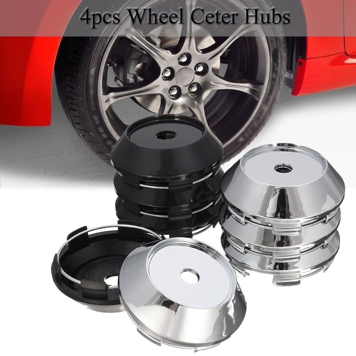 4pcs Universal 68mm ABS Chrome Car Wheel Center Plain Hub Caps Covers Holder