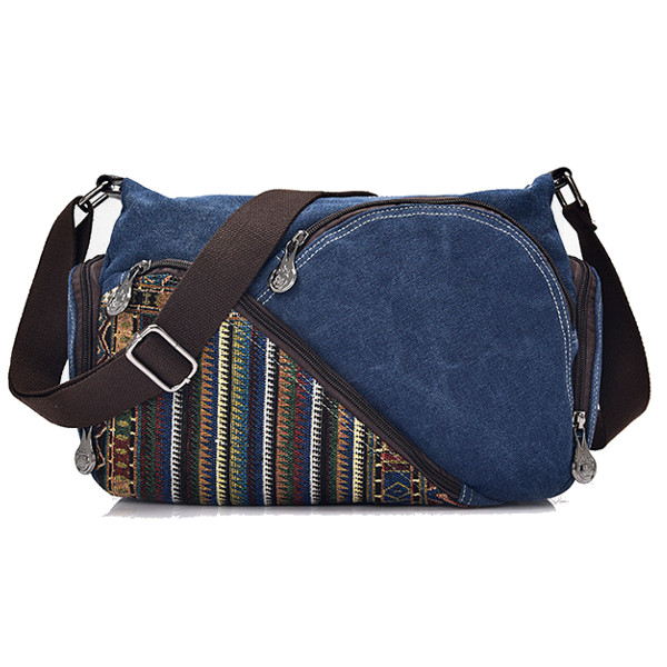 Bohemia Style Canvas Shoulder Bags Multi Zipper Pockets Vintage Crossbody Bags Messenger Bags