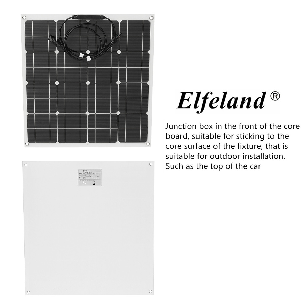 Elfeland® EL-03 50W 12V 560*540mm Semi Flexible Solar Panel Off Grid + Cable For Home RV Boat