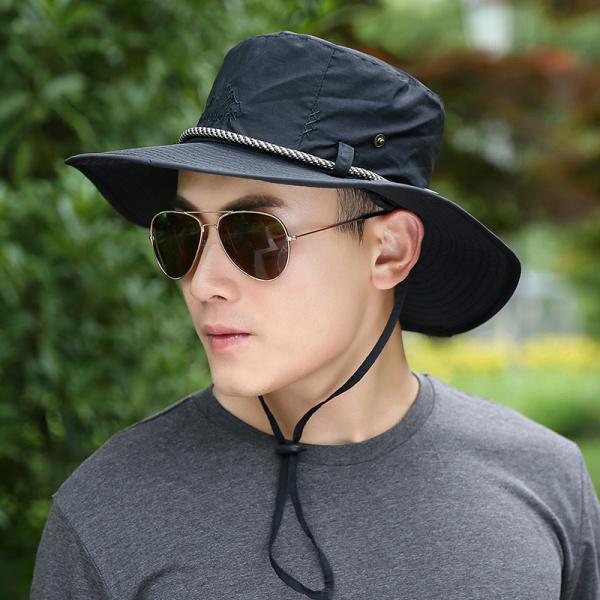 Unisex Men Women Summer Breathable Visor Bucket Hat Wide Birm Outdoor Embroidery Sunshade Cap