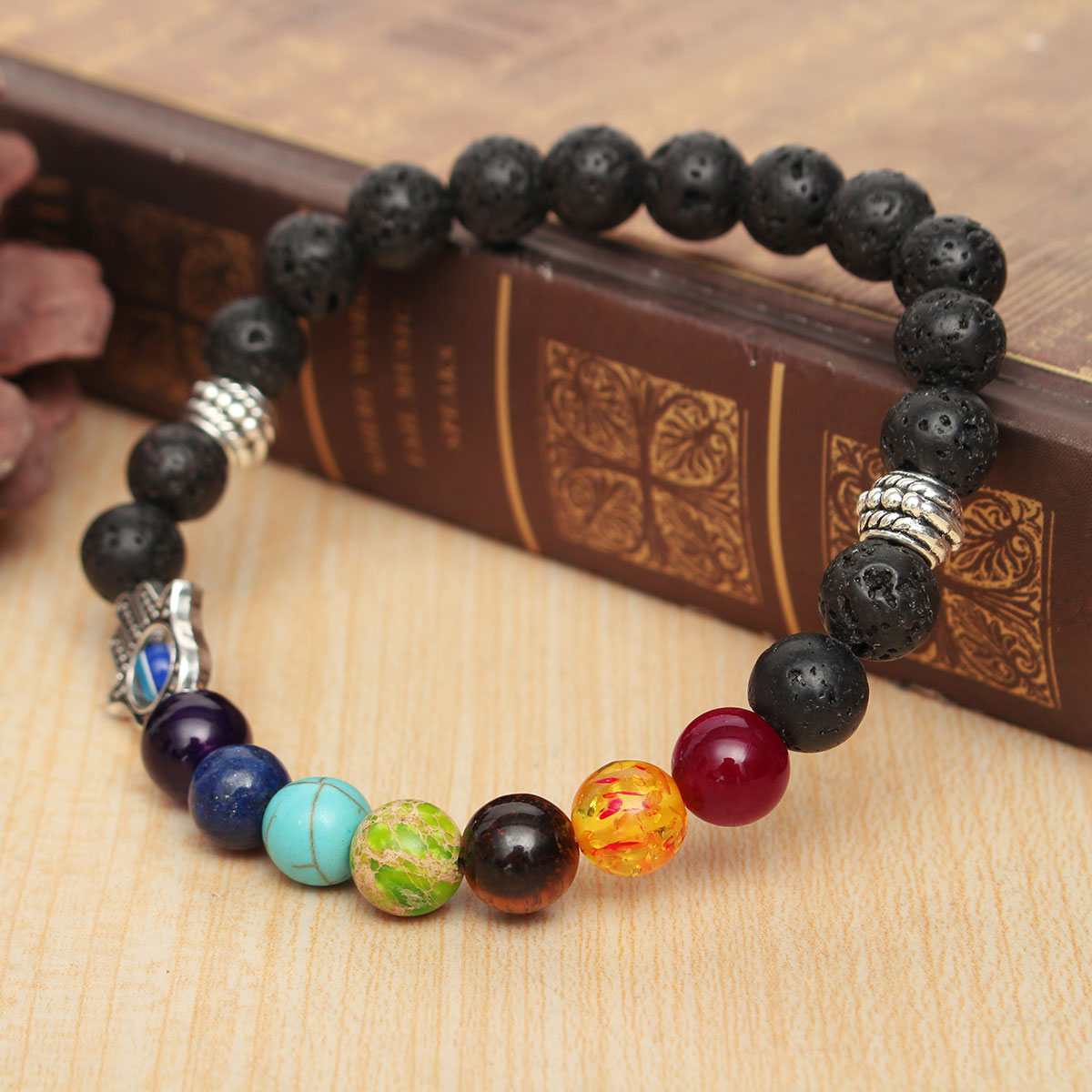 Men Hand Evil Eye Lava Rock Buddha Elastic Bead Bracelet Bangle