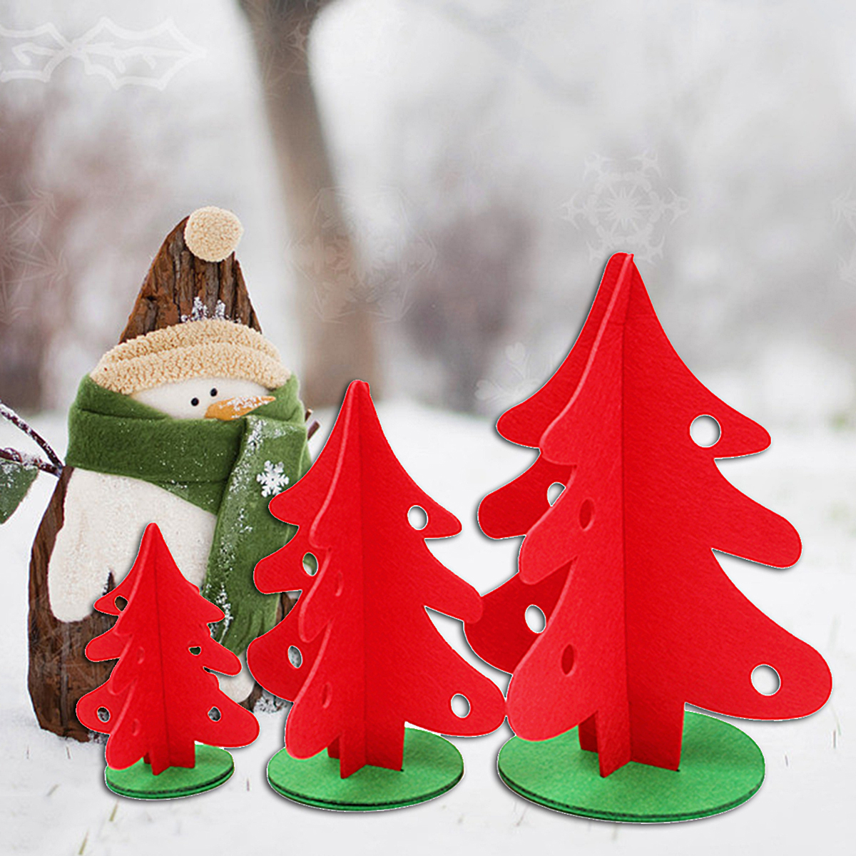 Vintage Christmas Tree Home Shop Ornament Decoration Fabric Red Green Tree