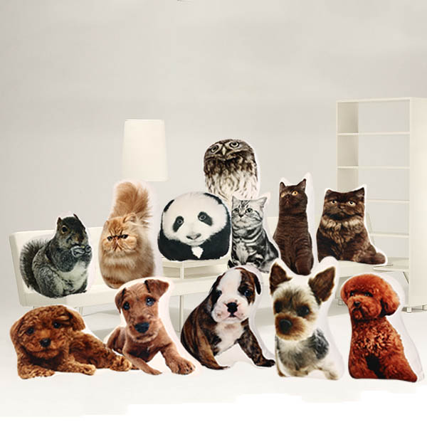 Creative 3D Cute Animal Cat Dog Shape Throw Pillow Plush Soft Sofa Car Office Cushion Gift