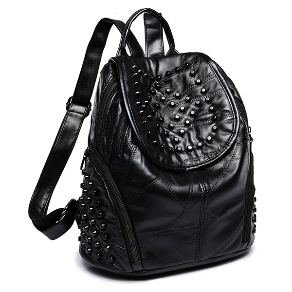 Women Genuine Leather Rivet Backpack Handbag Shoulder Bag