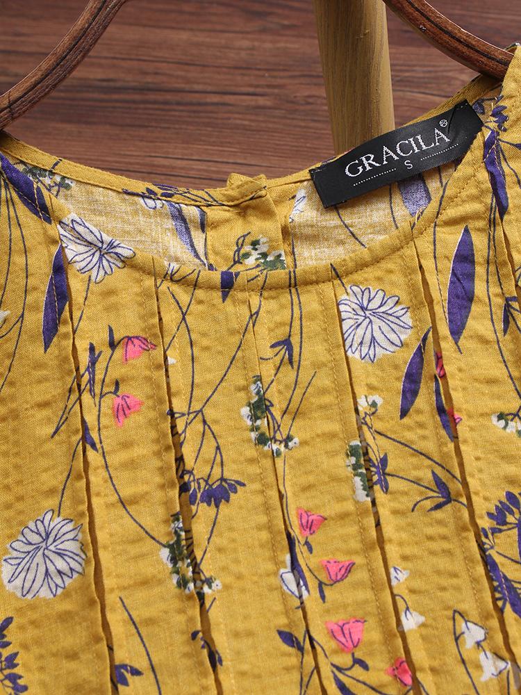 Vintage Floral Print Folded Blouse