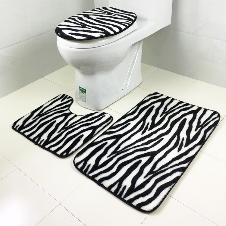 3 Sets Toilet Seat Zebra Pattern Carpet Fabric Printing