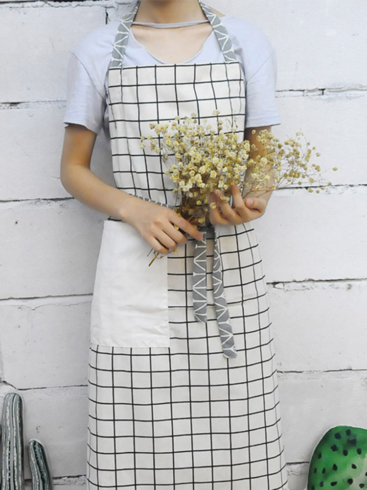 Japanese Backless Belt Stitching Pocket Apron Dress