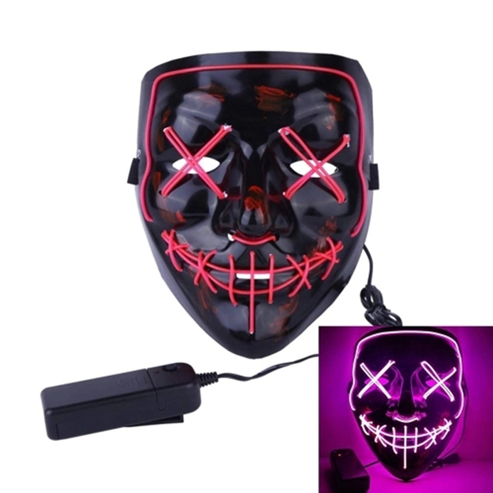 DC3V Battery Powered EL LED Cold Light Flash Grimace Fluorescent Mask with Controller for Halloween